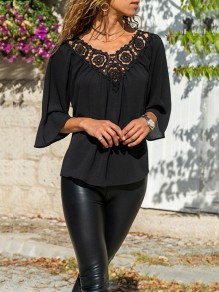 Black Patchwork Lace Cut Out Going out T-Shirt