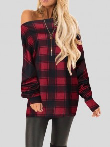 Red Plaid Buffalo Checkered Off Shoulder Dolman Sleeve Christmas T-Shirt