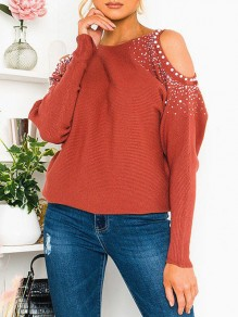 Red Patchwork Rhinestone Cut Out Round Neck Long Sleeve T-Shirt
