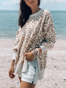 Apricot Leopard Print Round Neck Long Sleeve Fashion T-Shirt