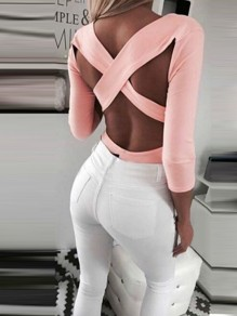 Pink Cut Out Cross Back Backless V-neck Long Sleeve Fashion T-Shirt