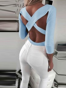 Light Blue Cut Out Cross Back Backless V-neck Long Sleeve Fashion T-Shirt