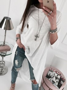 White Irregular High-low Round Neck Long Sleeve Oversize Fashion T-Shirt