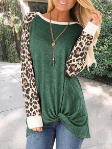 Green Patchwork Leopard Print Round Neck Long Sleeve Preppy Style Casual T-Shirt