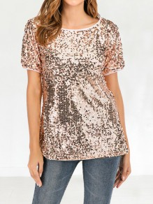 Pink Patchwork Sequin Short Sleeve Fashion Glitter Sparkly T-Shirt