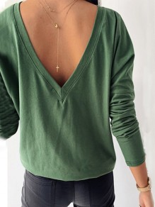Green Cut Out V-neck Long Sleeve Backless Fashion T-Shirt