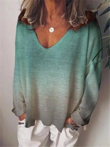 Green Patchwork Comfy Gradient Long Sleeve Fashion T-Shirt