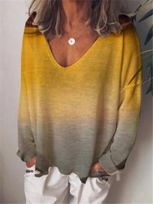 Yellow Patchwork Comfy Gradient Long Sleeve Fashion T-Shirt
