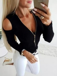 Black Cut Out Zipper V-neck Long Sleeve Fashion T-Shirt
