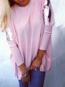 Pink Sequin Long Sleeves Round Neck Cotton Loose Casual Womens T-shirt