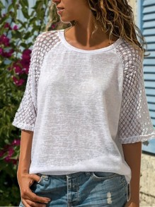 White Patchwork Lace Comfy 3/4 Sleeve Going out T-Shirt