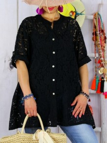 Black Patchwork Lace Ttrendy Single Breasted Round Neck Elbow Sleeve Going out Casual T-Shirt