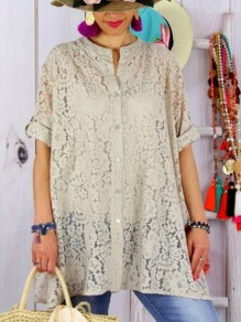 Beige Patchwork Lace Bodycon Ttrendy Comfy Going out T-Shirt