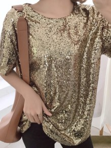 Golden Sequin Sparkly Round Neck Short Sleeve Oversize T-Shirt