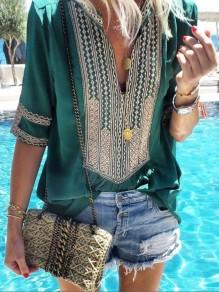Green Tribal Floral Print V-neck Elbow Sleeve Mexico Oversize T-Shirt