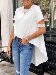 White Cut Out Round Neck Short Sleeve High-low Fashion T-Shirt