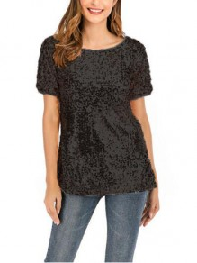 Black Sequin Short Sleeve One Shoulder Sparkly Glitter Party T-shirt