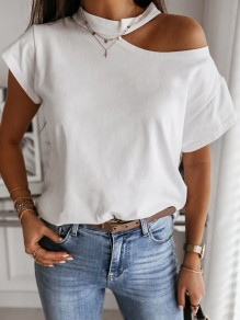 White Cut Out Round Neck Short Sleeve Fashion T-Shirt