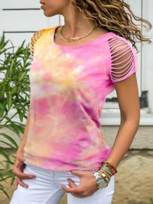 Pink Floral Tie Dye Gradient Cut Out Round Neck Short Sleeve Casual T-Shirt