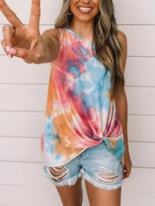 Pink Colorful Irregular Bowknot Tie Dye Sleeveless Casual Vest