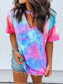 Rose Carmine Blau Tie Dye Oversize V-neck Short Sleeve Fashion T-Shirt
