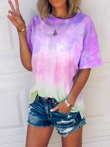 Purple Floral Tie Dye Print Round Neck Short Sleeve Fashion T-Shirt