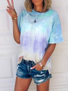 Sky Blue Floral Tie Dye Print Round Neck Short Sleeve Fashion T-Shirt