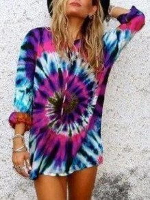 Blue Tie dye Spiral Print Round Neck Long Sleeve Casual T-Shirt