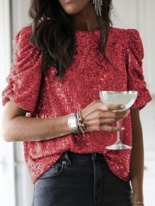 Red Sequin Sparkly Round Neck Short Sleeve Oversize T-Shirt