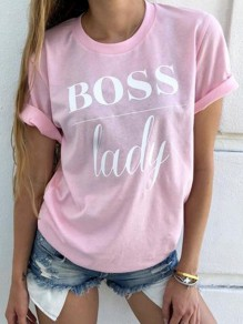 Pink Boss Letter Oversize Round Neck Short Sleeve Fashion T-Shirt