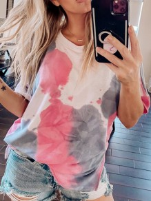 Pink Tie Dye Floral Round Neck Short Sleeve Fashion Casual T-Shirt