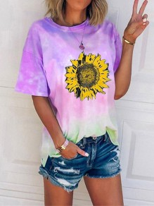 Green Tie Dye sunflower Print Oversize Round Neck Short Sleeve Fashion T-Shirt