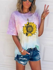 Pink Tie Dye sunflower Print Oversize Round Neck Short Sleeve Fashion T-Shirt
