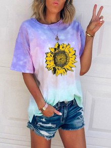 Blue Tie Dye sunflower Print Oversize Round Neck Short Sleeve Fashion T-Shirt