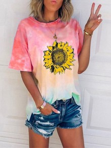Wine Red Tie Dye sunflower Print Oversize Round Neck Short Sleeve Fashion T-Shirt