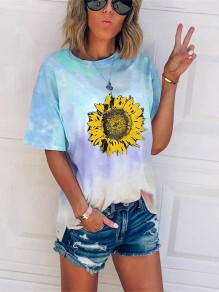 Sky Blue Tie Dye Gradient Sunflower Print Oversize Round Neck Short Sleeve Fashion Casual T-Shirt