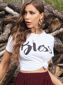 White Bless Monogram Print Round Neck Short Sleeve T-Shirt