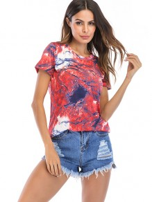 Red Floral Round Neck Short Sleeve Fashion T-Shirt