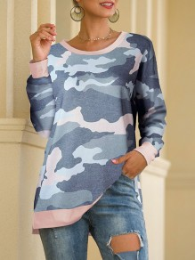 Green Camouflage Print Round Neck Long Sleeve Casual T-Shirt