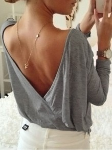 Grey Backless Round Neck Long Sleeve Oversize T-Shirt