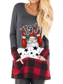 Grey-Red Plaid Santa Pattern Pockets Christmas Long Sleeve Oversized T-shirt