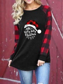 Black-Red Plaid Monogram Have A Holly Jolly Christmas Pattern Long Sleeve Oversized T-shirt