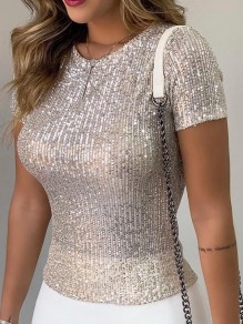 White Sequin Round Neck Short Sleeve Casual T-Shirt