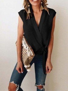Black Ribbons Tiered Bodycon Chiffon Lace-up V-neck Going out Vest