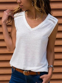 White Cut Out Going out Comfy Fashion V-neck Vest