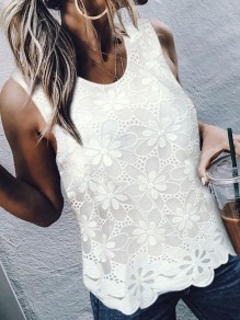 White Patchwork Lace Wavy Edge Bodycon Comfy Going out Vest