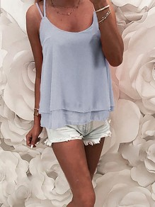 Blue Lace Backless Bodycon Spaghetti Strap Going out Vest