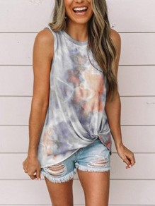Grey Floral Print Tie Dye Hit Color Round Neck Sleeveless Fashion Vest