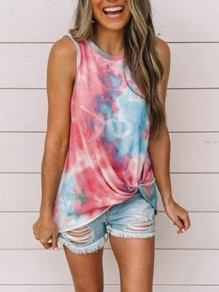 Red Floral Print Tie Dye Hit Color Round Neck Sleeveless Fashion Vest