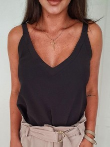 Black V-neck Sleeveless Oversize Fashion Summer Vest